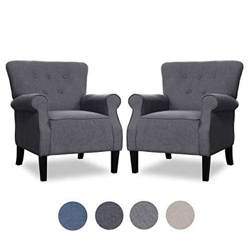 Top Space Accent Chair Sofa Mid Century Upholstered Roy Arm Single Sofa Modern Comfy Furniture for Living Room,Bedroom,Club,Office (Large, Deep Grey)