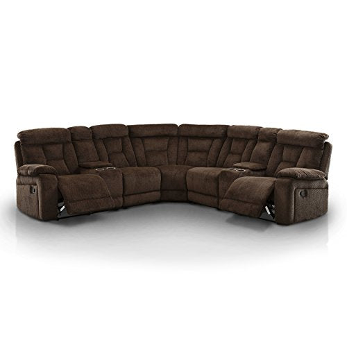 HOMES: Inside + Out IDF-6773BR-SEC Rico Reclining Transitional Sectional Sofa, Brown
