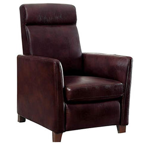 Walace Push Back Recliner Chair in Brown Leather
