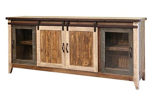 "Bayshore Multicolored 79"" Sliding Barn Door TV Stand / Sideboard Console"