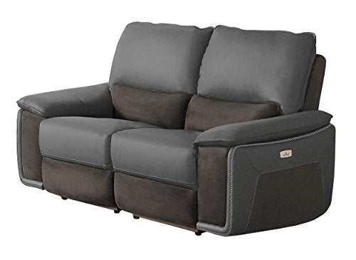 Homelegance Corazon Two-Tone Double Power Reclining Loveseat Top Grain Leather Fabric Matched, Navy Grey