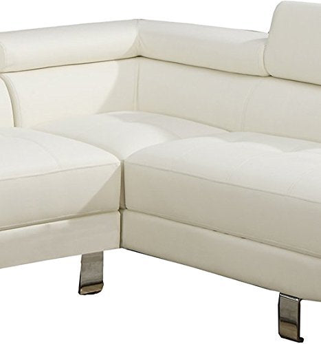 2Pcs Modern White Faux Leather Sectional Sofa Chaise Set with Flip Up Headrest