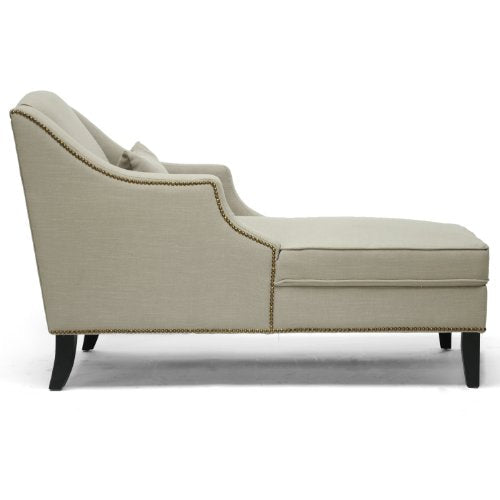 Baxton Studio Asteria Putty Linen Modern Chaise Lounge, Gray
