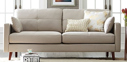 Elle Decor Alix Sofa, Chenille, French Ivory