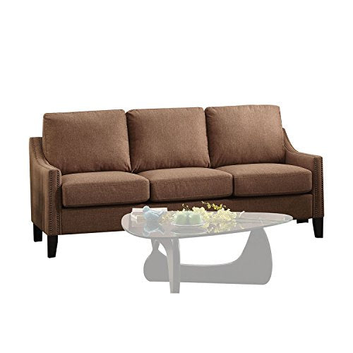 Linen Fabric Couch Sofa With Nailhead Accent, Wooden Frame, Thick Padded, Comfortable Seat, Practical, Contemporary Design, Suitable For Living Room, Home Office + Expert Guide (Brown)