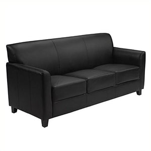 BOWERY HILL Diplomat Leather Sofa in Black