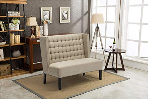 Yongqiang Tufted Upholstered Settee Bench for Dining Room Living Room Loveseat Banquette with Wood Legs Khaki