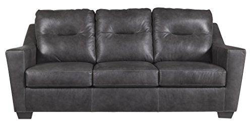 Ashley Furniture Signature Design - Kensbridge Contemporary Leather Sofa Sleeper - Queen Size Mattress Included - Charcoal