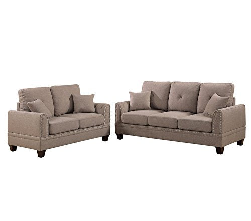 2Pcs Modern Coffee Cotton Blended Fabric Sofa Loveseat Set with Four Accent Pillows