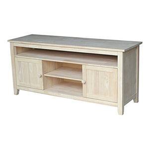 "57"" TV Stand Includes 2 Large Wood Storage Doors and 3 Adjustable Shelves Ready to Finish and is Without Stain or Sealant and Meant to be Finished by the Consumer"