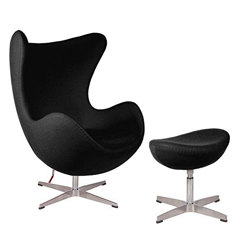 Mid Century Modern Classic Arne Jacobsen Style Egg Replica Lounge Chair With Premium (Black) Cashmere Wool Fabric With Fiberglass Inner Shell and Polished Aluminium Frame With Matching Ottoman