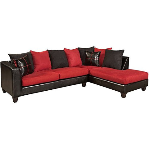 Pemberly Row Faux Leather Right Facing Sectional in Black and Red