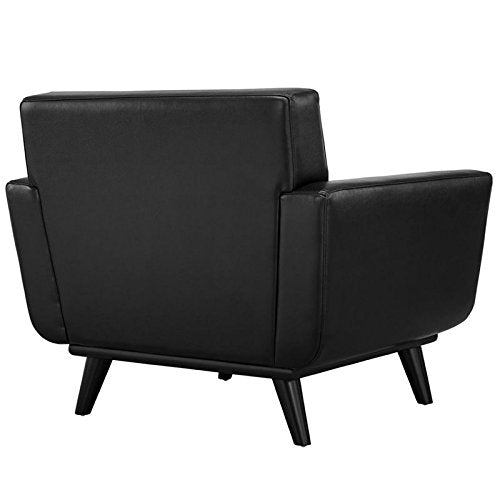 Hawthorne Collections Leather Accent Chair in Black