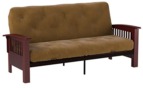 Epic Furnishings Brentwood Mission-Style 8-Inch Loft Inner Spring Futon Sofa Sleeper Bed, Queen-size, Mahogany Arm Finish, Microfiber Suede Chocolate Brown Upholstery