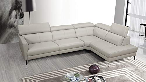 "American Eagle Furniture EK-LK608L-LG Louisville Top-Grain Cow Hide Leather Right Facing Sectional, 117"", Light Gray"