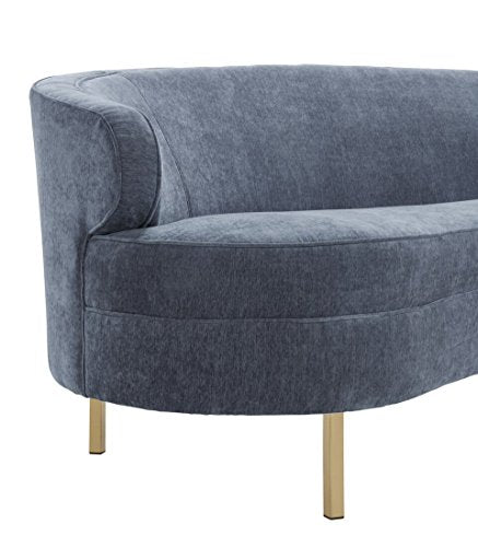 Tov Furniture The Baila Collection Modern Style Living Room Velvet Upholstery Curved Sofa with Stainless Steel Legs, Grey