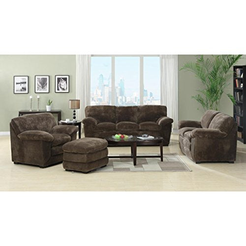 Emerald Home Devon Mocha Sofa with 8 Way Hand Tied Springs And Easy Clean Microfiber Upholstery