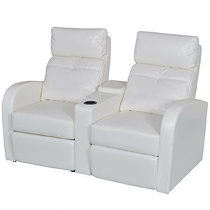 vidaXL White Artificial Leather 2-Seat Home Theater Recliner Sofa Lounge w/ Cup Holder