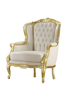 ACME Kassim White Faux Leather and Gold Arm Chair