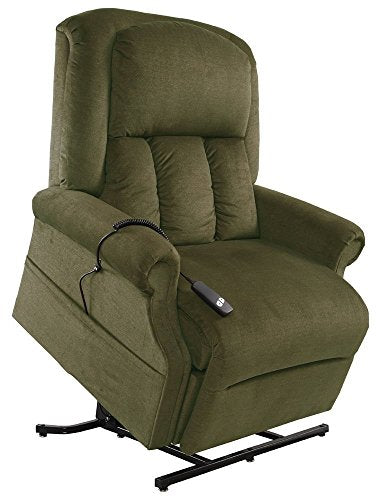 Mega Motion Easy Comfort Superior 3 Position Heavy Duty Big Lift Chair 500 lb capacity Chaise Lounge Recliner - Forest Green Fabric - White Glove Inside Delivery and Setup