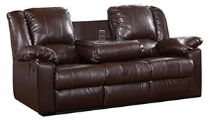 Milton Greens Stars Burgas Reclining Sofa with Dropdown Cup Holder, 81-Inch by 38-Inch by 40-Inch, Dark Brown
