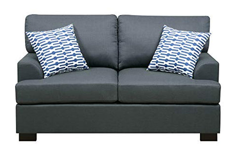 Benzara BM166774 Linen Fabric Loveseat in Blue with 2 Pillows