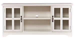 "Liquid Pack Solutions 52"" TV Stand Includes 1 Open Center Storage and 2 Windowpane Cabinets Three Adjustable Shelves for Optimized Storage Freestanding"