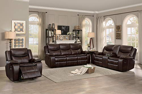 Bogo Double Glider Reclining Love Seat with Center Console in Dark Brown Leather