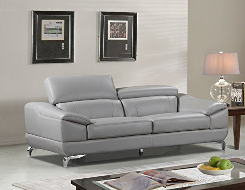 Cortesi Home Vegas Genuine Leather Sofa with Adjustable Headrests, Gray