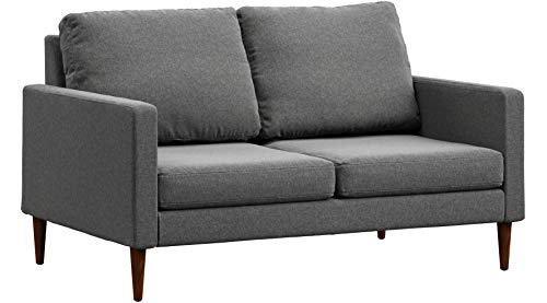 Campaign Steel Frame Brushed Weave Loveseat, 61 Inches, Flint Grey with Mahogany Stained Solid Oak Legs