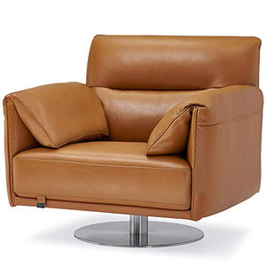 Zuri Furniture Modern Tampa Swivel Armchair in Orange Genuine Leather with Stainless Steel Base
