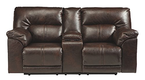 Benchcraft 4730194 Barrettsville Reclining Loveseat with Console, Chocolate