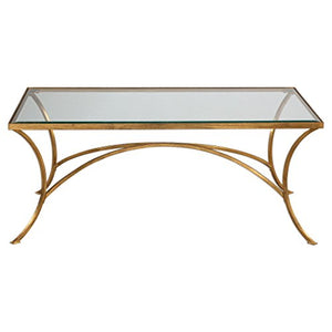 Zinc Decor Arched Gold Iron & Glass Coffee Cocktail Table