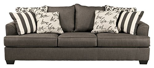 Ashley Furniture Signature Design - Levon Sleeper Sofa - Queen - Memory Foam Mattress - Charcoal Gray