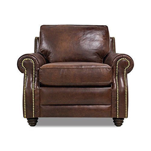 Devine Leather Furniture 2127-C-BROWN Italian Leather Chair, Brown