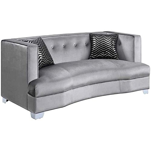 A Line Furniture Modern Design Traditional Influenced Silver Velvet Living Room Sofa Collection Silver/1 Loveseat