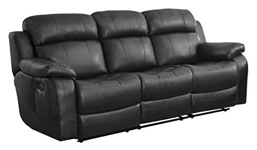Homelegance Marille Reclining Sofa w/ Center Console Cup Holder, Black Bonded Leather