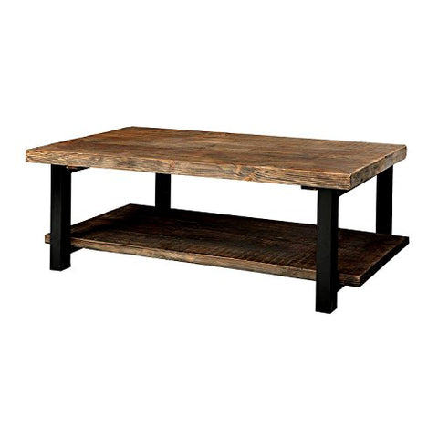 2 Tier Coffee Table Rectangular Large with Open Storage Shelf Metal and Wood Brown Wooden Cocktail Table Sofa for Living Room