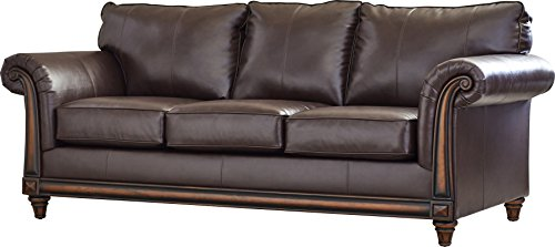 Add This Sofa Comfy and Cozy Made in USA with Seating Capacity of 3 Made of Wood Frame & Faux Leather Upholstery in Rich Brown Color