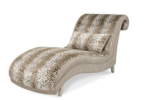 Michael Amini 03841-JAGUR-05 Hollywood Swank Armless Chaise Lounge, Platinum