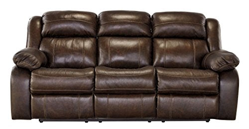 Ashley Furniture Signature Design - Branton Reclining Sofa - Leather Manual Recliner Couch - Contemporary Style - Antique Brown