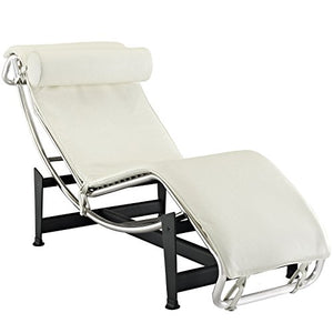 Modern Contemporary Leather Chaise White