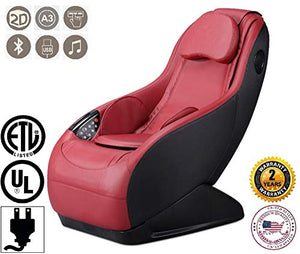GURU massage chair - Red (2018 new model) - 3 massage modes - 3D surround sound - Relax armchair with Bluetooth and USB charge port system - 2 YEARS Official Warranty by GLOBAL RELAX US