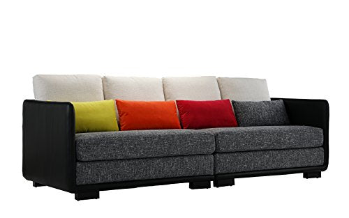 Classic 2 Piece Colorful Convertible Living Room Sofa, Adjustable Couch (Black/Dark Grey)