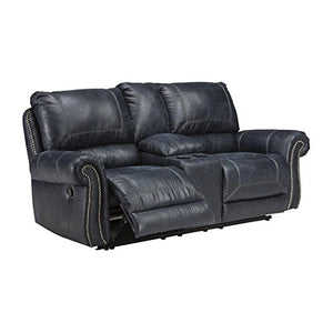 Ashley Furniture Signature Design - Milhaven Faux Leather Upholstered Double Power Reclining Loveseat w/Console - Contemporary - Navy