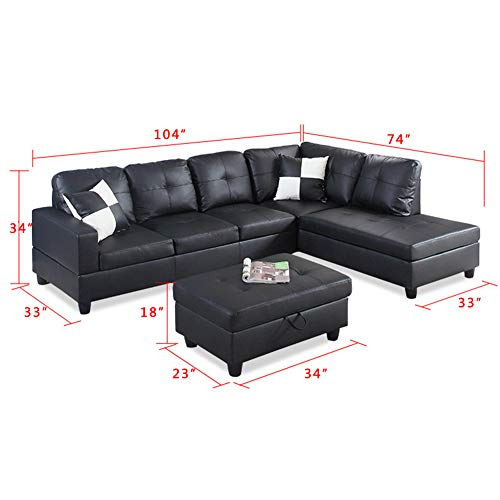 Right Hand Facing Chaise Modern Living Room L Shaped Sectional Sofa Set - Black