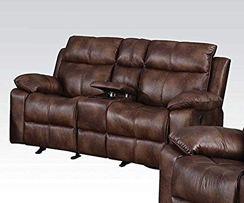 ACME Dyson Light Brown Polished Microfiber Reclining Loveseat with Console