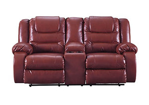 Signature Design by Ashley 7930694 Vacherie Reclining Loveseat with Console, Salsa