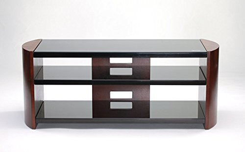 "50"" TV Stand with Espresso Finish Top Shelf has 8mm Tempered Black Silkscreen Glass Middle and Bottom Shelves have 5mm Tempered Black Silkscreen Glass"