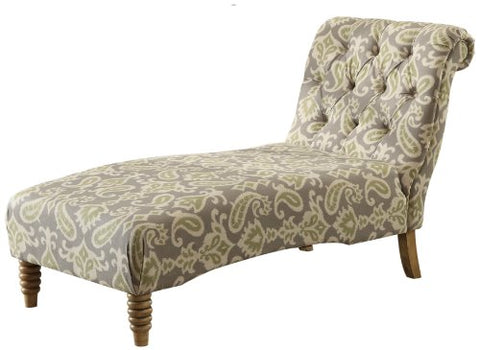 Armen Living Tufted Chaise Lounge, Paisley iKat Fabric